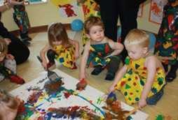 daycare activities at our nursery schools children hand painting